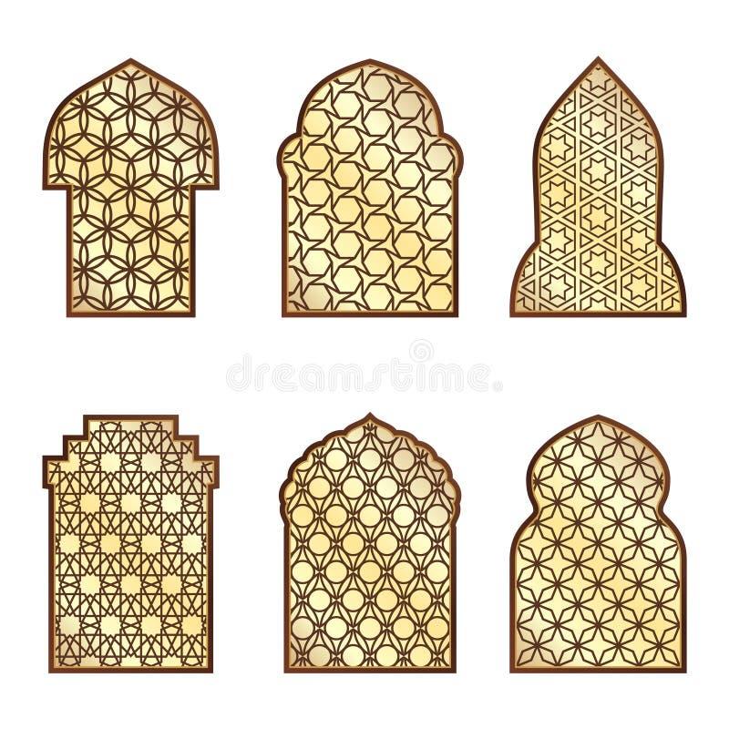 Islamscy klasyczni okno i drzwi z arabskim ornamentem kolorowych deseniowych planowanymi różnych możliwych wektora ilustracja wektor