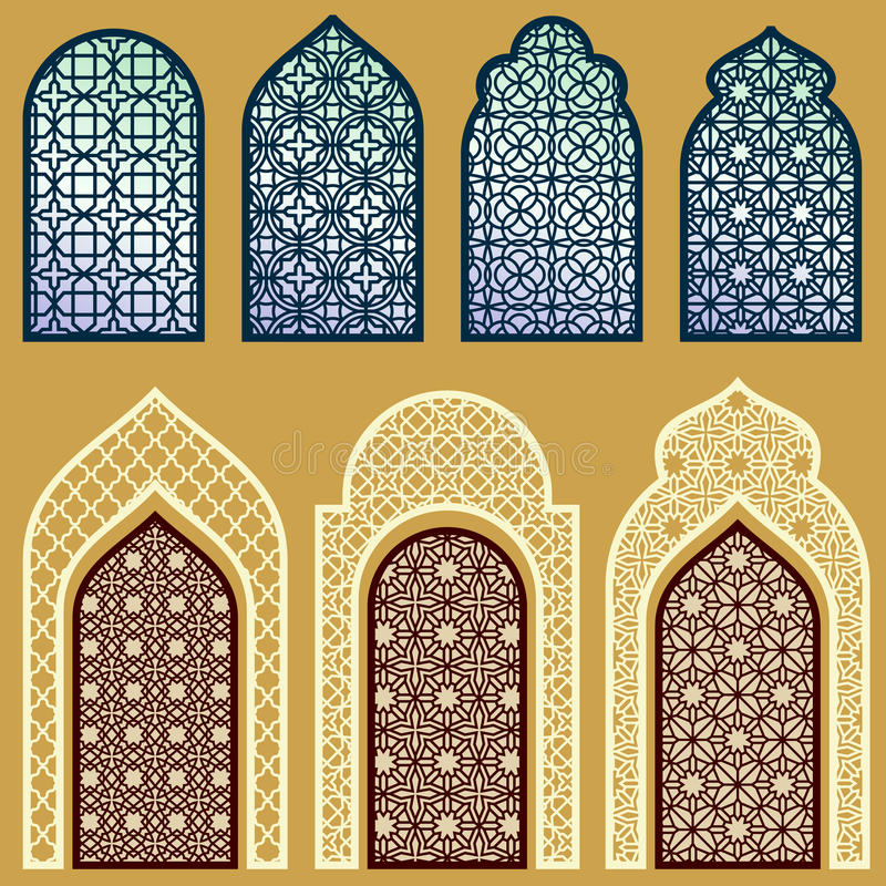 Islamscy okno i drzwi z arabskim sztuka ornamentem deseniują wektoru set ilustracji