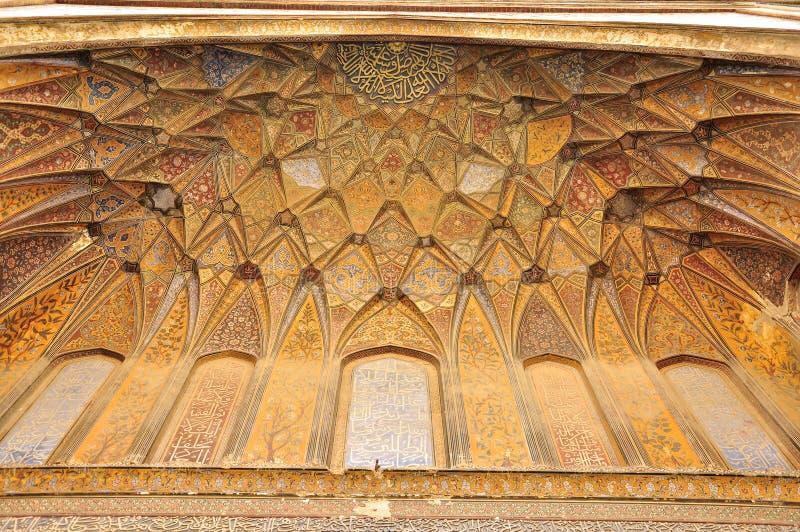 Islamska kaligrafia przy Wazir Khan Meczetowy Lahore, Pakistan obraz royalty free