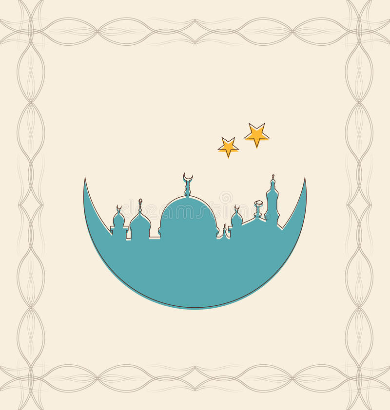Islamska karta dla Ramadan Kareem ilustracja wektor