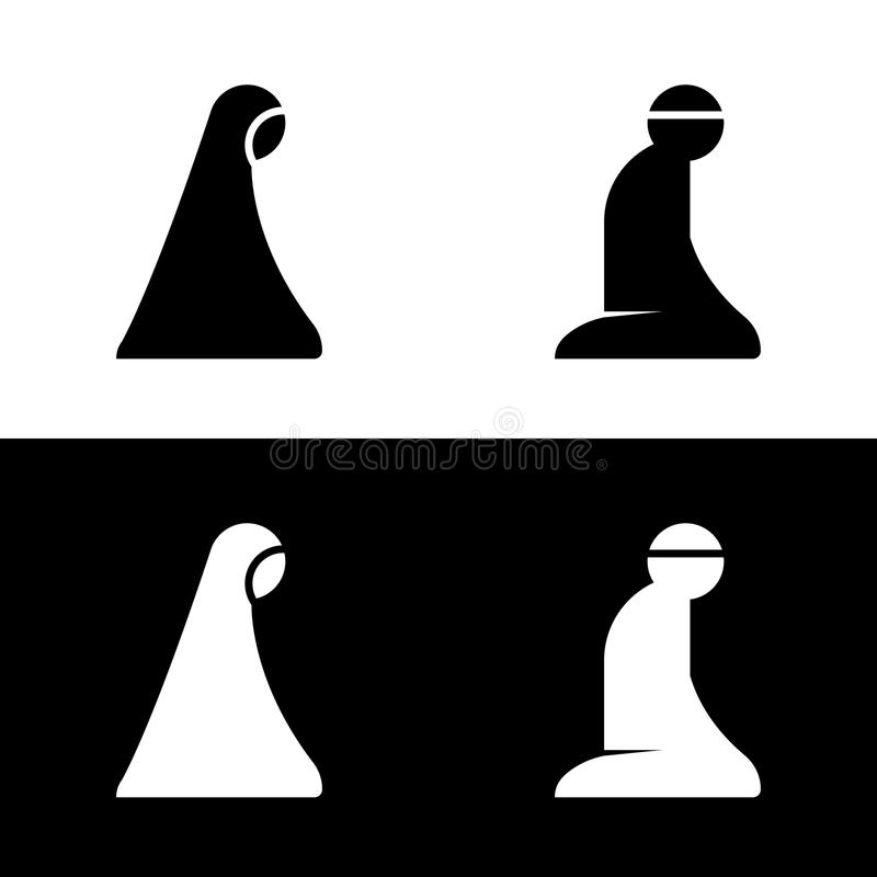 Islamska Modlitewna Izbowa terenu znaka symbolu loga ikona ilustracja wektor