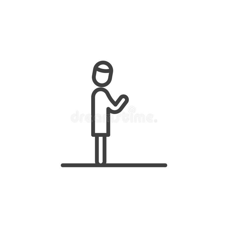 Islamska modlitwy linii ikona ilustracji