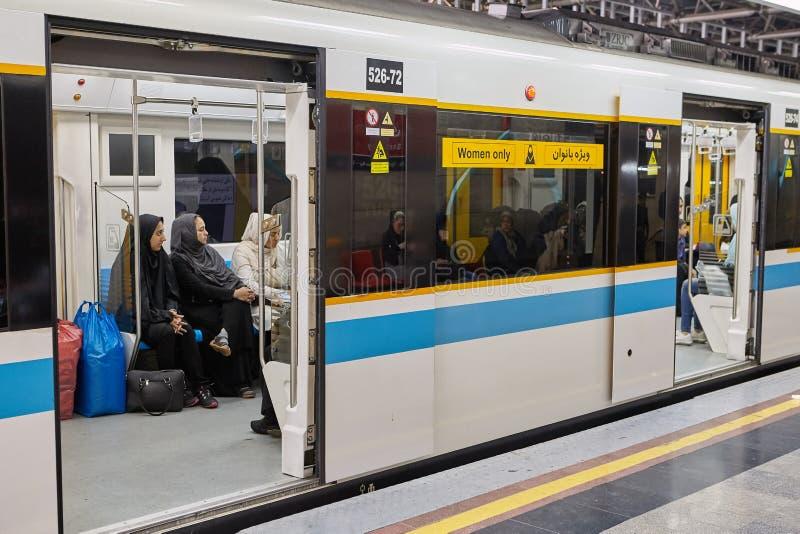 Islamska republika Iran, metro kareciany dla kobiet tylko, Teheran obraz stock