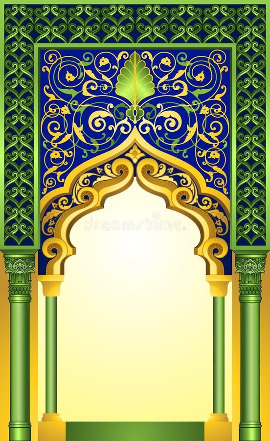 Islamski łękowaty projekt w eleganckim szmaragdzie i złocisty kolor z wysokością wyszczególnialiśmy kwiecistych ornamenty ilustracja wektor