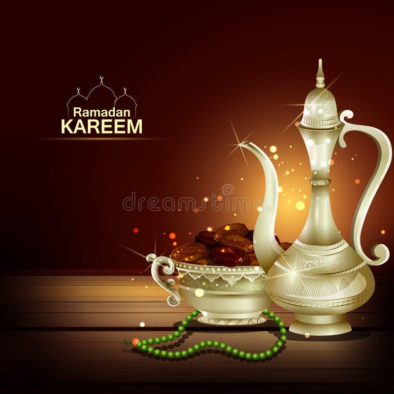 Islamski świętowania tło z tekstem Ramadan Kareem ilustracja wektor