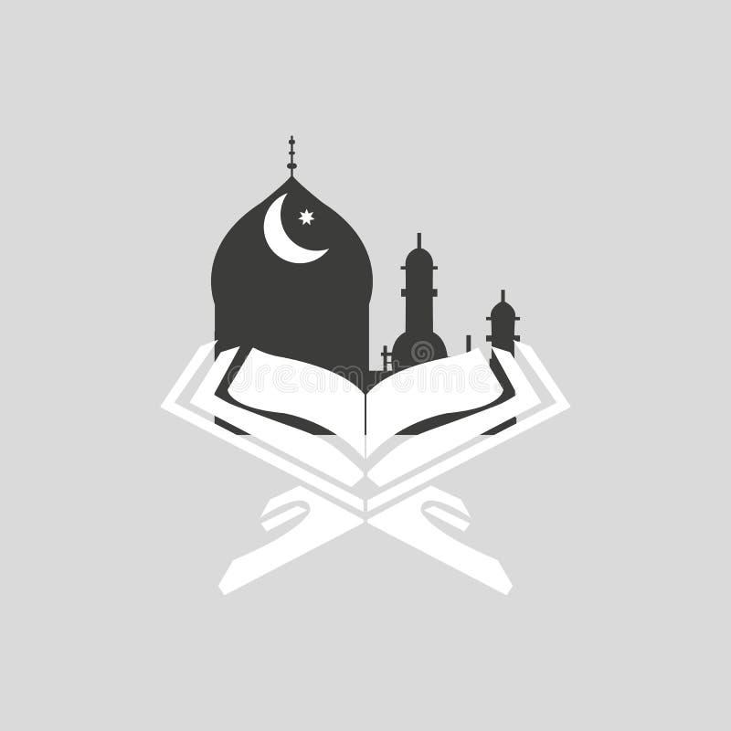 Islamski święty miesiąc modlitwy, Ramadan Kareem świętowania z otwartym islamskim religijnym książkowym koranem Shareef na colour royalty ilustracja