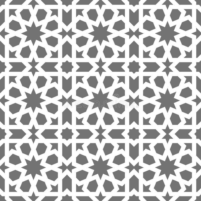 Islamski bezszwowy wektoru wzór Biali Geometryczni ornamenty opierający się na tradycyjnej arabskiej sztuce Orientalna muzułmańsk royalty ilustracja