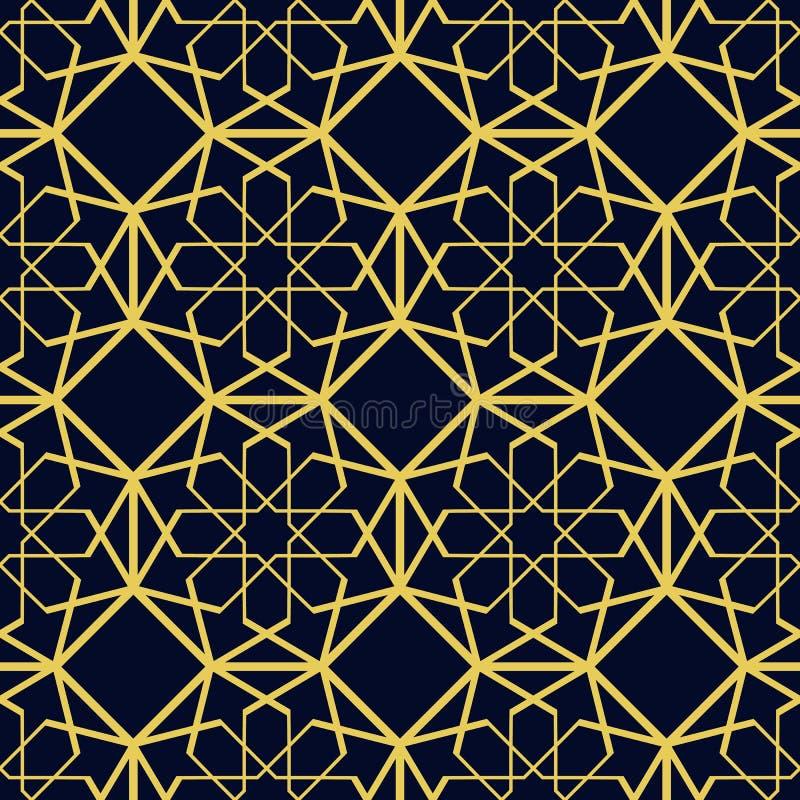 Islamski bezszwowy wzór Piękna i mody częstotliwy tło Luksusowy arabski projekt Abstrakcjonistyczny Złocisty szablonu tło wewnątr ilustracja wektor