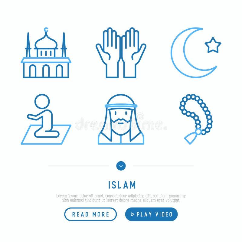 Islamski cienieje kreskowe ikony ustawiać ilustracji