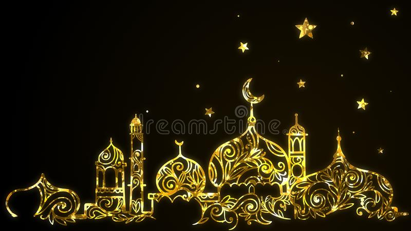 Islamski Eid Mubarak Ramadan Kareem z z?ocistym meczetem, p??ksi??yc ksi??yc, gra g??wna rol? t?o ilustracja wektor