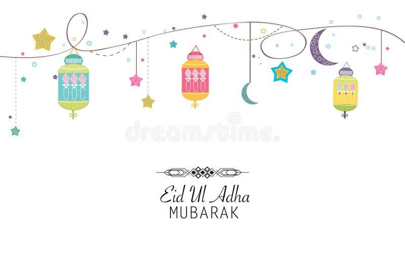 Islamski festiwal poświęcenie, Eid al-Adha świętowania kartka z pozdrowieniami ilustracja wektor