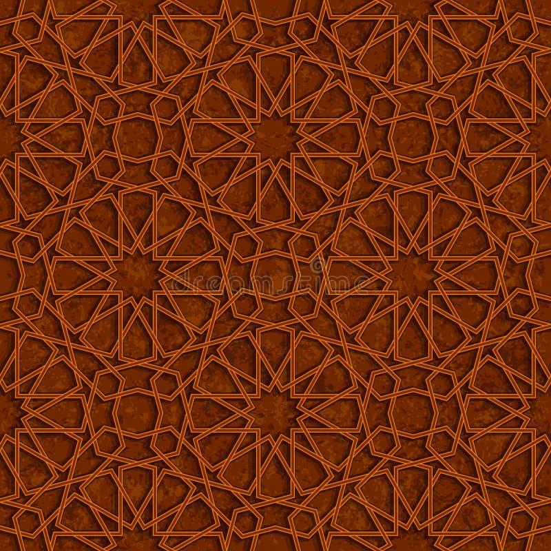 Islamski Gwiazdowy wzór z Brown Grunge tłem ilustracji