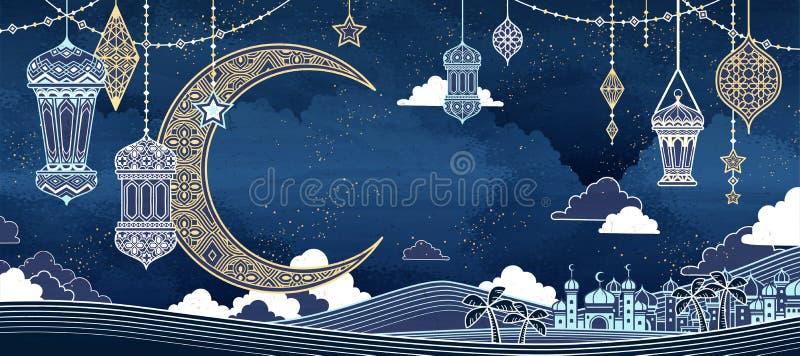 Islamski kreskowego stylu tło royalty ilustracja