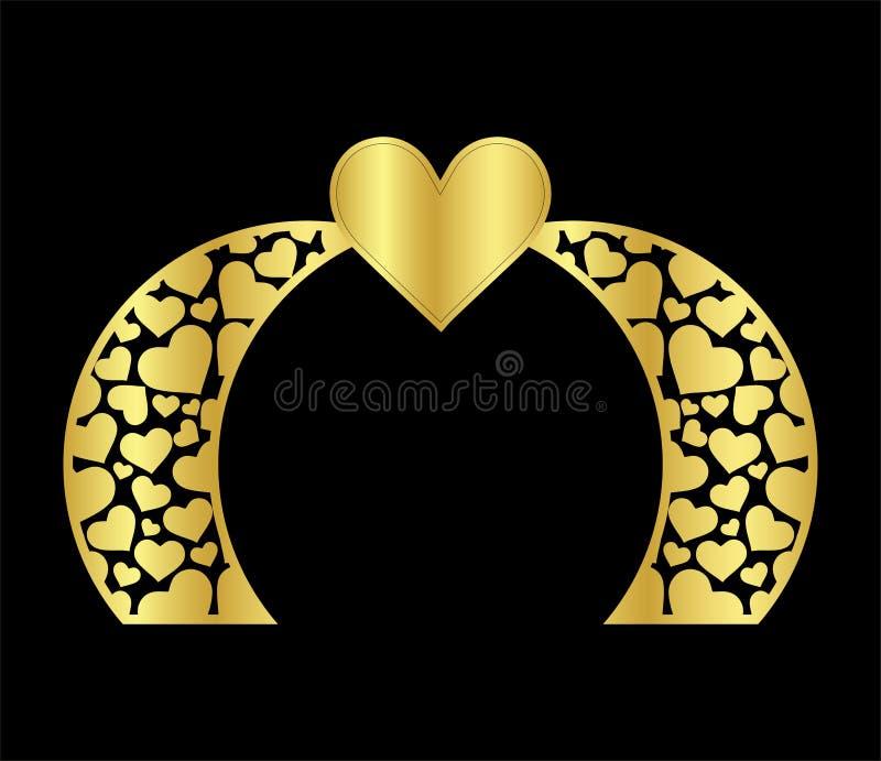 Islamski laserowy ślubu łuku bramy szablon dla ciąć od winylu wystrój jest stylizowanym openwork wzorem ilustracja wektor
