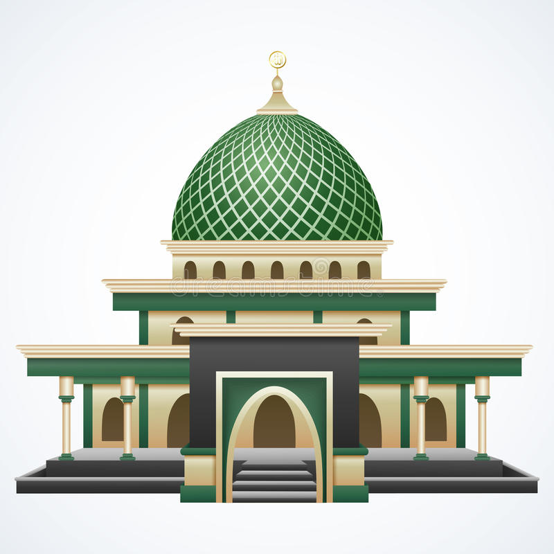 Islamski meczetowy budynek z zieloną kopułą odizolowywającą na białym tle royalty ilustracja