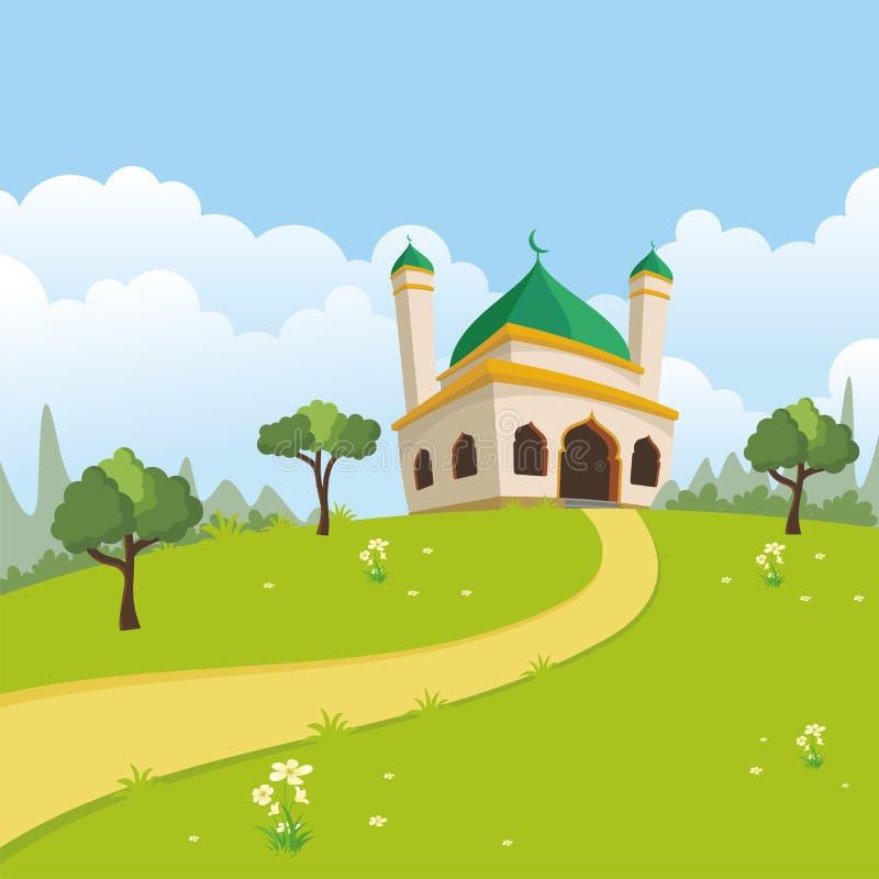 Islamski natura krajobraz z meczetem ilustracja wektor