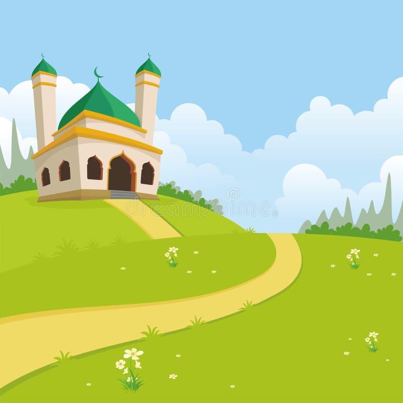 Islamski natura krajobraz z meczetem ilustracji