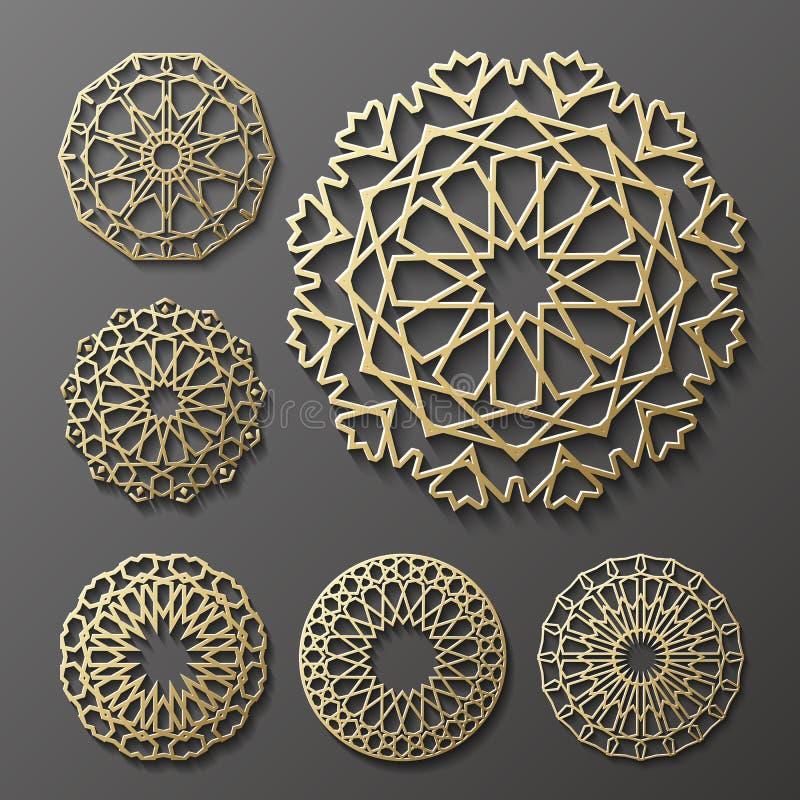 Islamski ornamentu wektor, perski motiff 3d Ramadan round deseniowi elementy Geometryczny loga szablonu set kurenda