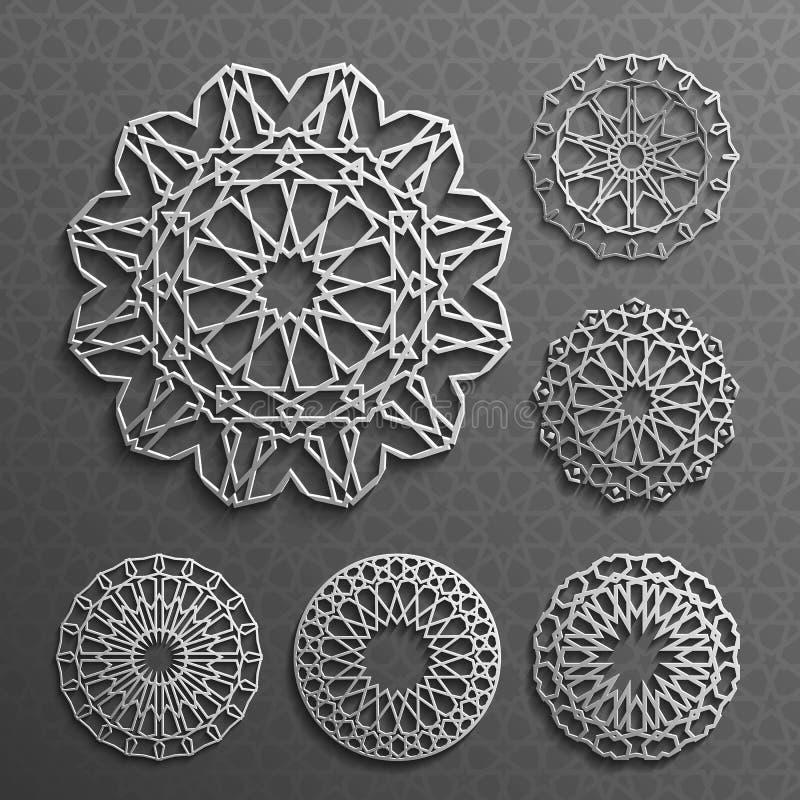 Islamski ornamentu wektor, perski motiff 3d Ramadan round deseniowi elementy Geometryczny loga szablonu set kurenda ilustracji