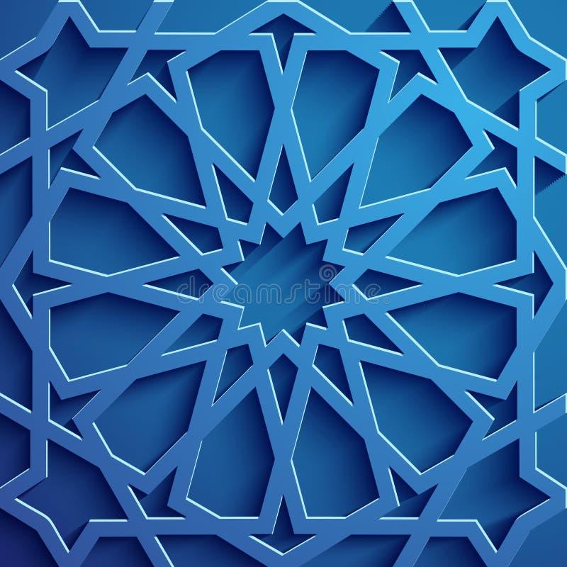 Islamski ornamentu wektor, perski motiff 3d Ramadan round wzoru islamscy elementy Geometryczny kółkowy ornamentacyjny royalty ilustracja