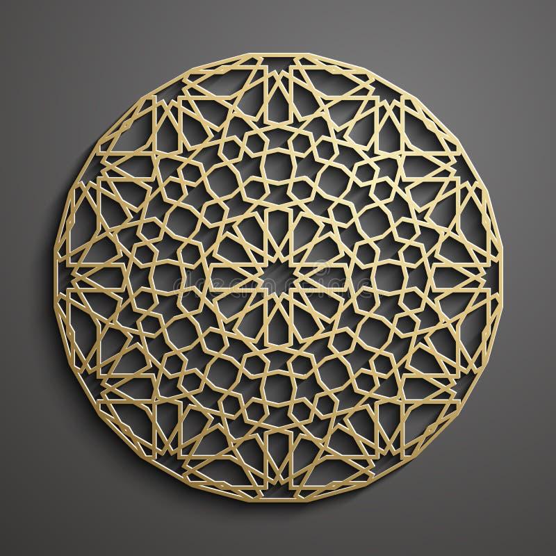 Islamski ornamentu wektor, perski motiff 3d Ramadan round wzoru islamscy elementy Geometryczny loga szablonu set ilustracji