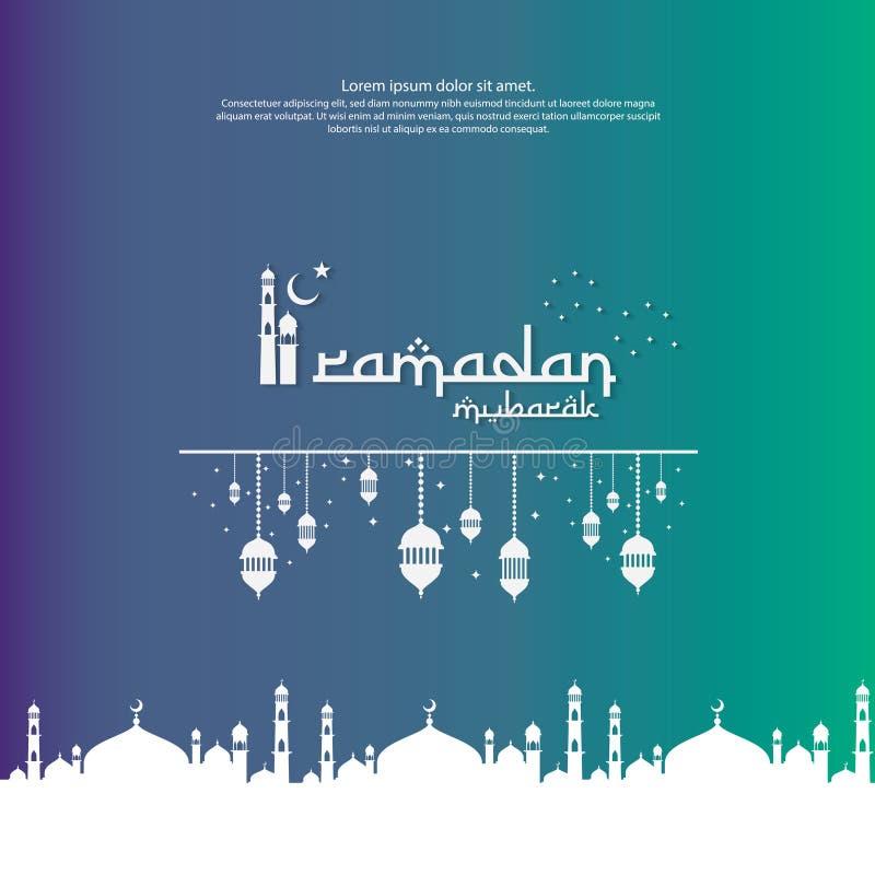 Islamski projekta pojęcie Ramadan Kareem, Eid Mubarak powitanie z meczetowym elementem lub latarniowy ornamentu tło dla zaproszen royalty ilustracja