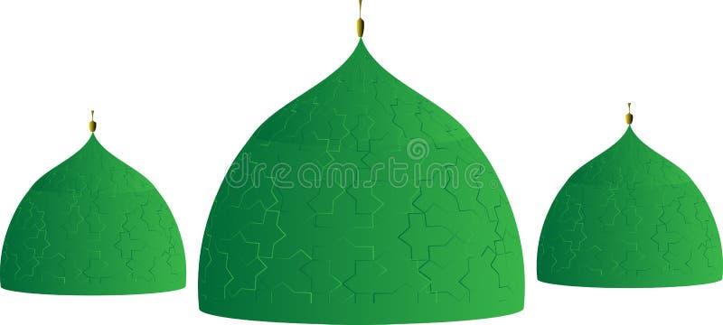 Islamskie Meczetowe kopuły w Zielonym płytka kolorze, wzorze i ilustracji