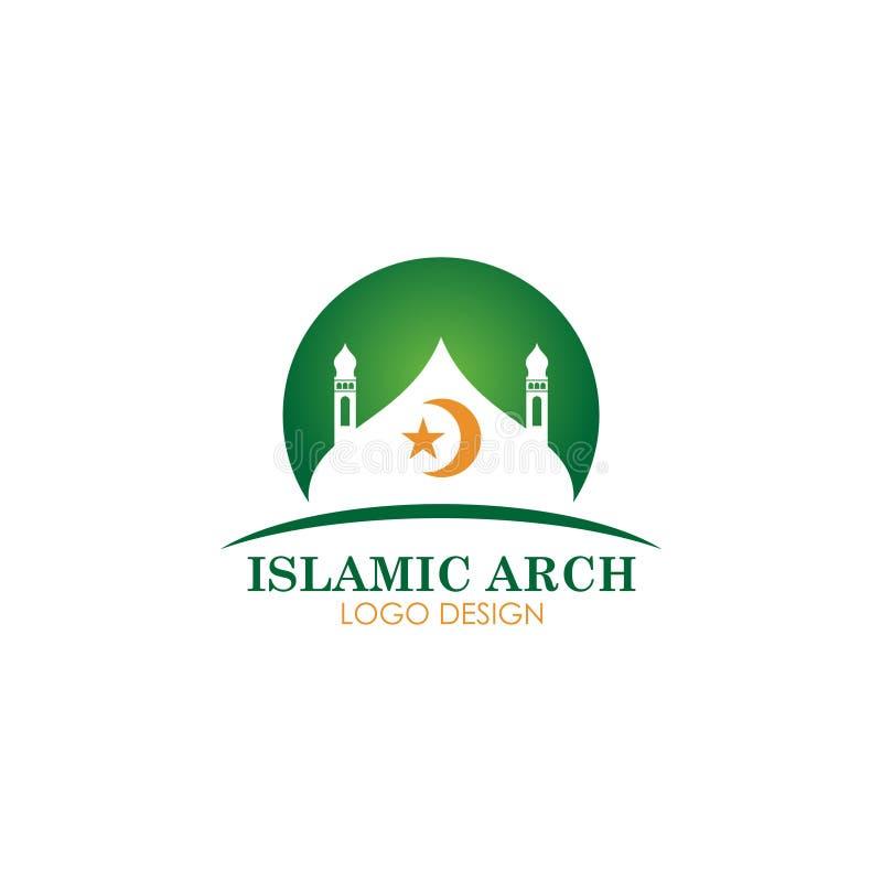 Islamskiego meczetowego logotypu wektorowy projekt royalty ilustracja