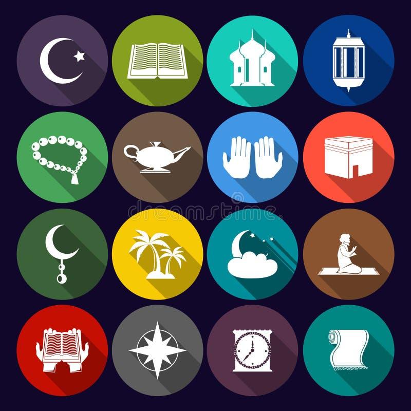 Islamu ikona Ustawiający mieszkanie ilustracja wektor