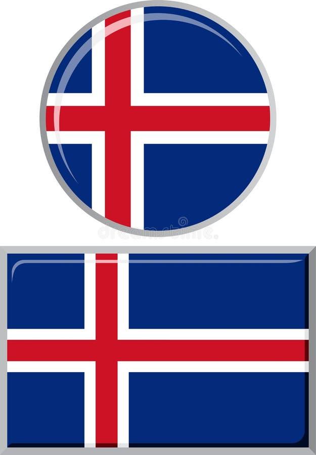 Islandés alrededor y bandera cuadrada del icono Vector stock de ilustración