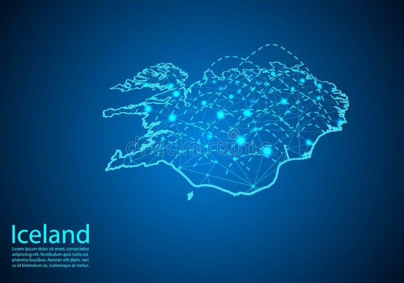 Island översikt med knutpunkter som anknytas av linjer begrepp av global commun stock illustrationer