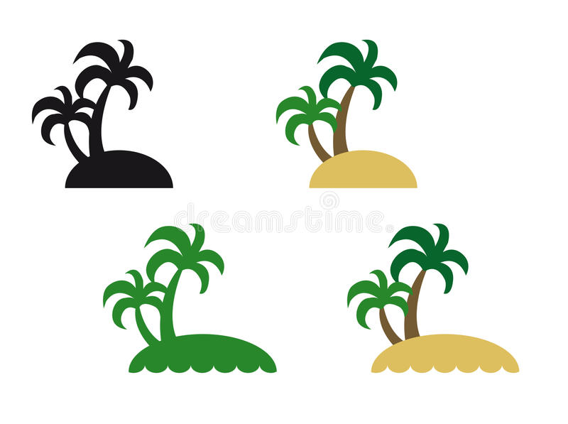 Island. Little island with palme tree on white background. Suitable for logos. Four versions of drawings vector illustration