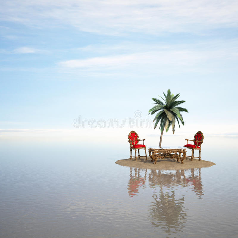 Island. Classical furniture stands on a small uninhabited island in the sea vector illustration