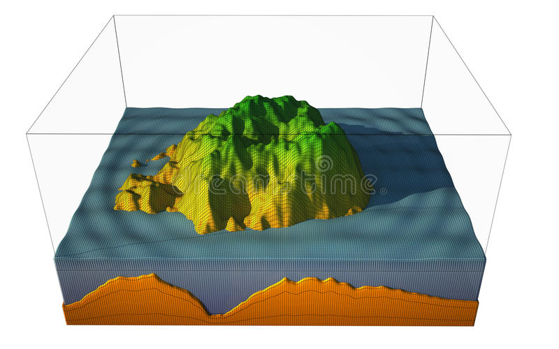 Island. 3d representation of a island sectioned around. image is textured and in wire frame. top of the island is green water is blue and the ground orange stock illustration
