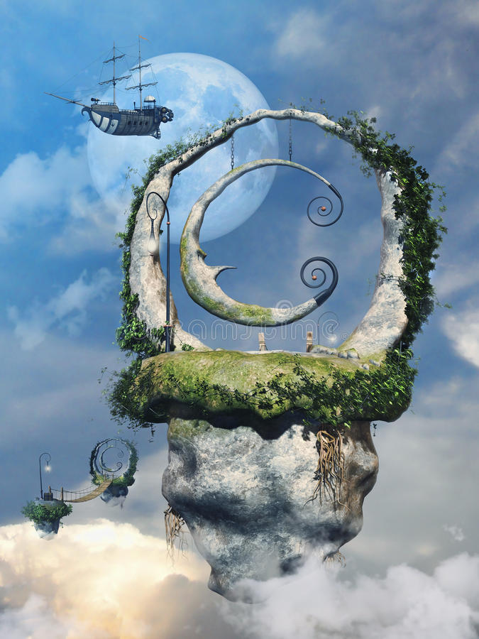 Island above the clouds stock illustration