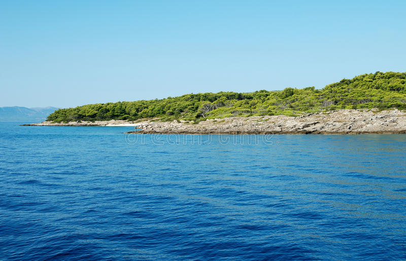 Island in adriatic coastline stock photo