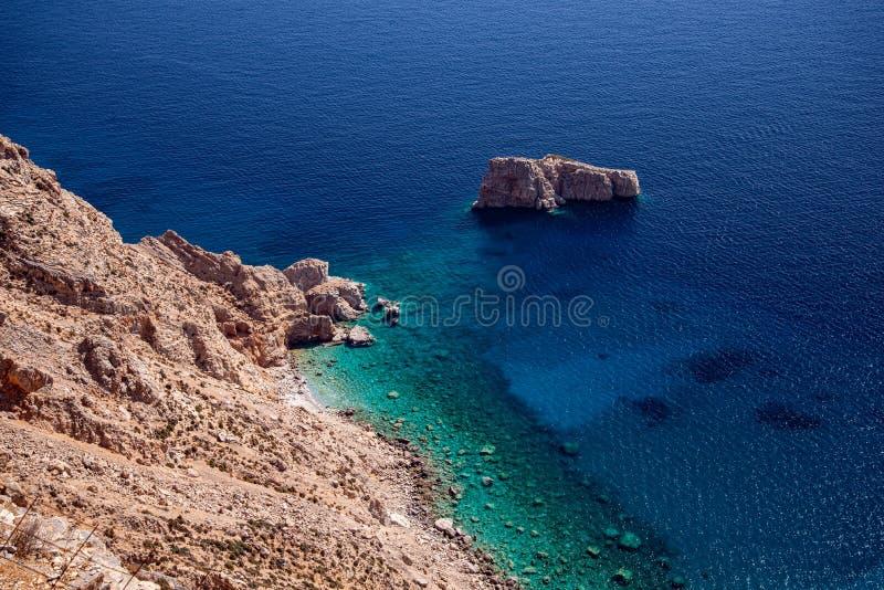 Greece, Cyclades, Amorgos island, Aegean coastal landscape royalty free stock photo