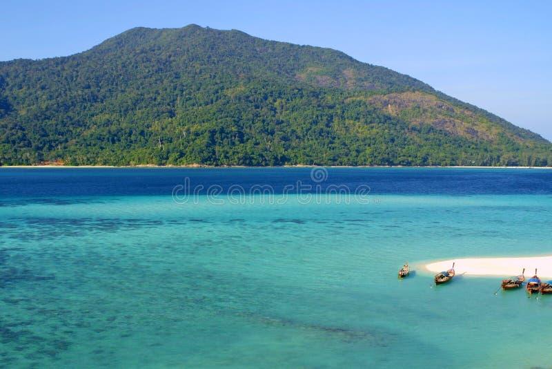 Island in Andaman sea. Crystal blue water and beautifull green island in Andman sea. Ko Turatao National Marine Park, Thailand stock photos