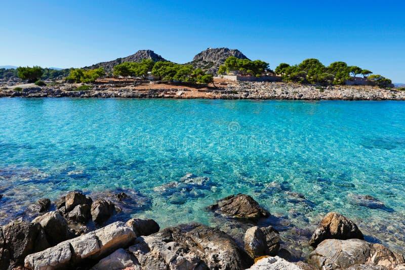 The island Aponisos near Agistri, Greece. The small island Aponisos near Agistri island, Greece stock image