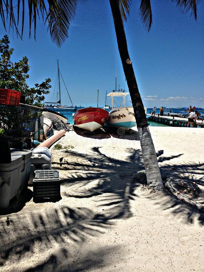 Blue skies, warm sand, tropical paradise of Isla Mujeres royalty free stock images