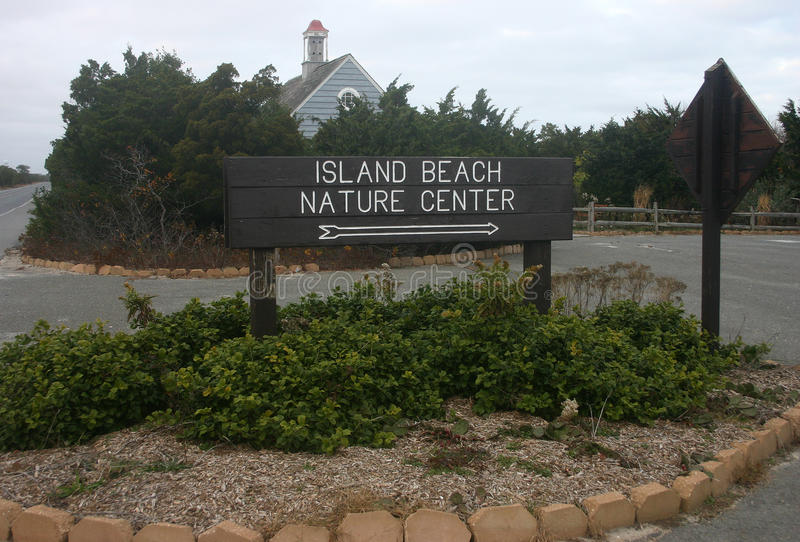 Island Beach State Park. Information sign at the entrance. To the park, USA stock image