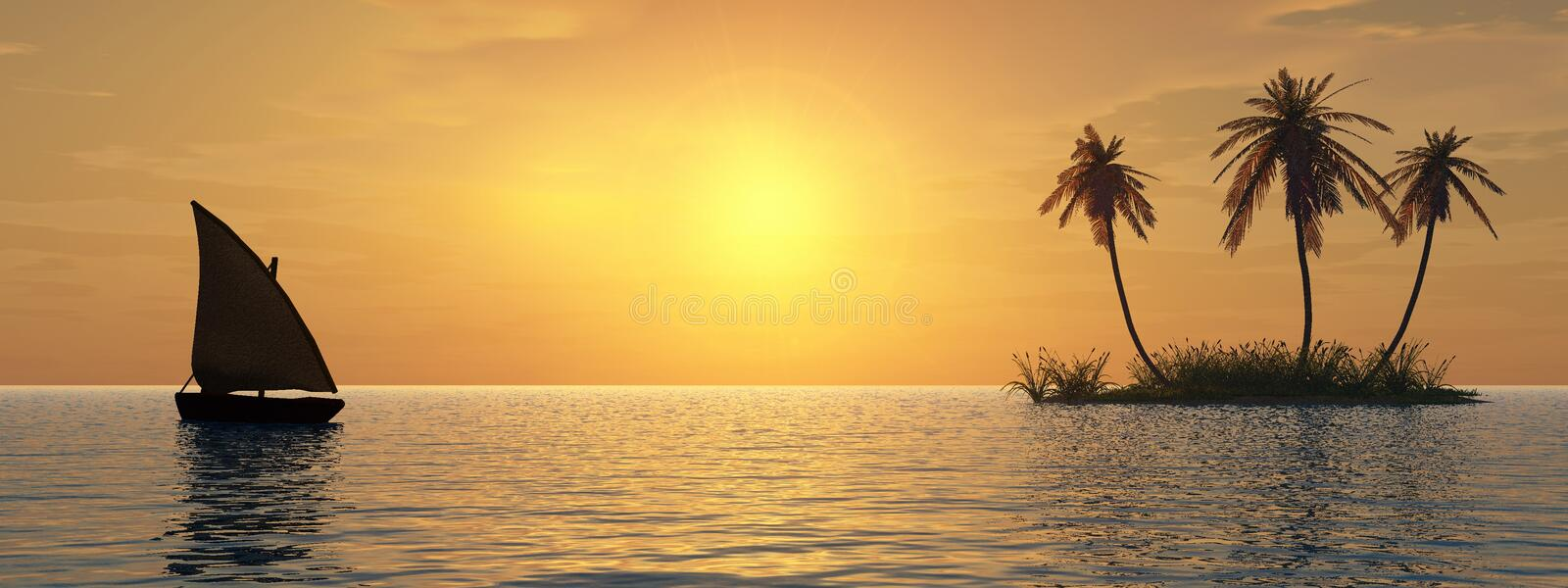 Island and boat. Sunset coconut palm trees on island and small boat - 3d illustration stock illustration