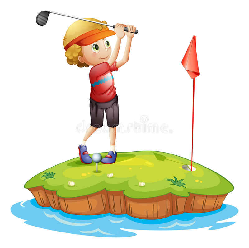 An island with a boy playing golf. Illustration of an island with a boy playing golf on a white background stock illustration