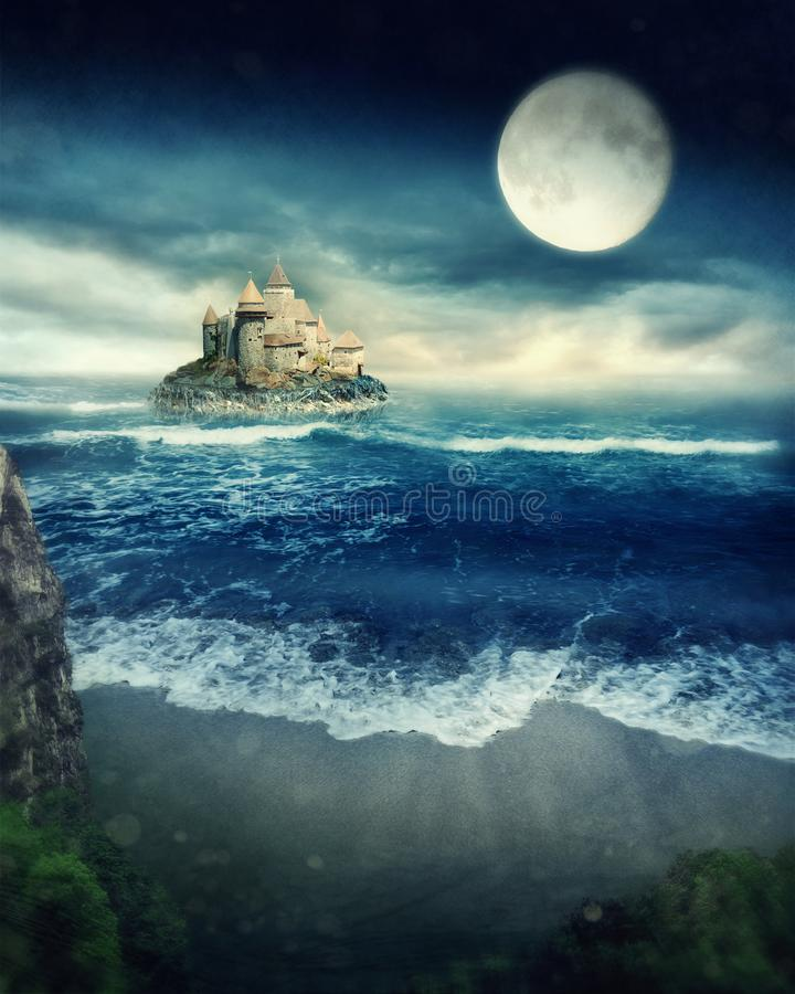 Island with castle. At night royalty free stock photography