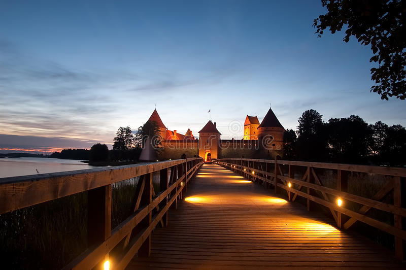 Island castle at night, Trakai, Lithuania, Vilnius. Island castle in Trakai isd one of the most popular touristic destinations in Lithuania, houses a museum and royalty free stock photo