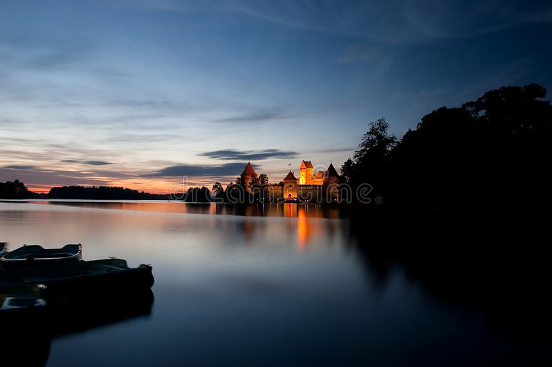 Island castle at night, Trakai, Lithuania, Vilnius. Island castle in Trakai isd one of the most popular touristic destinations in Lithuania, houses a museum and stock image