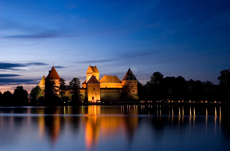 Island castle at night, Trakai, Lithuania, Vilnius. Island castle in Trakai isd one of the most popular touristic destinations in Lithuania, houses a museum and royalty free stock photos