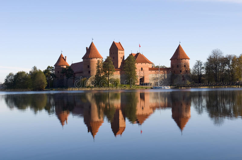 Island castle in Trakai. One of the most popular touristic destinations in Lithuania stock photos
