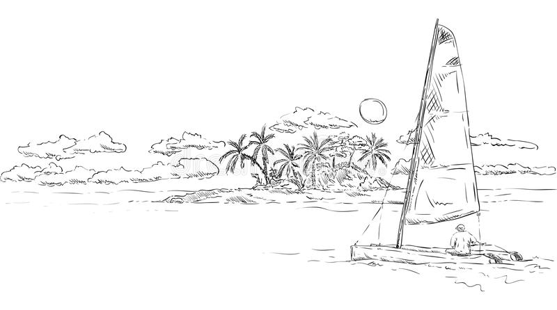 Island and catamaran stock illustration