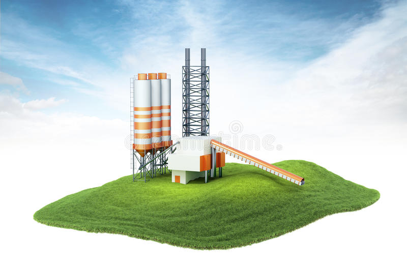 Island with cement factory floating in the air royalty free stock images